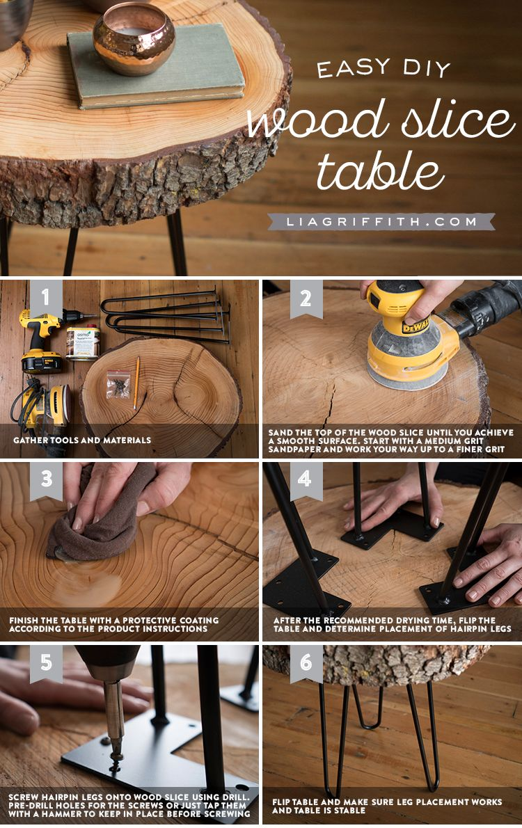 DIY Wood Slice Table #wood