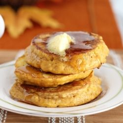 Mix up an easy homemade pancake mix and you are 5 minutes away from these light, fluffy Pumpkin Pancakes.