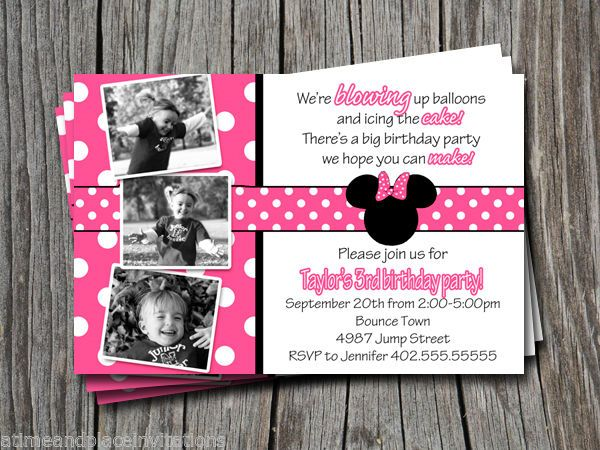 Minnie mouse birthday party ideas invitation – Minnie Mouse Personalized Birthday Invitations