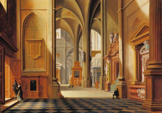 nterior of a Church  Artist:Bartholomeus van Bassen (The Hague ca. 1590 – 1652 The Hague)  Date:1639 Medium:oil on oak Dimensions:47.3 x 67.3 cm