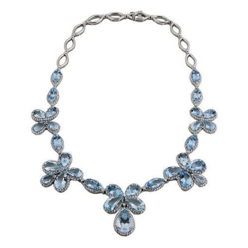 18K White Gold Diamond And Aquamarine Necklace | eBay