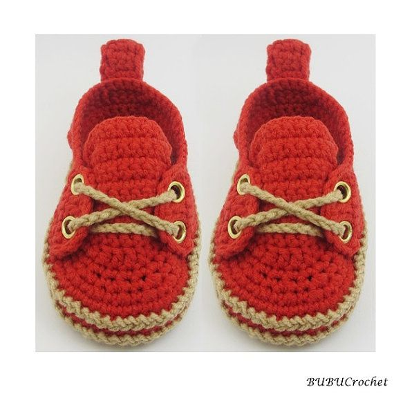 Crochet baby sneakers Red Baby Shoes Crochet Baby by BUBUCrochet ...