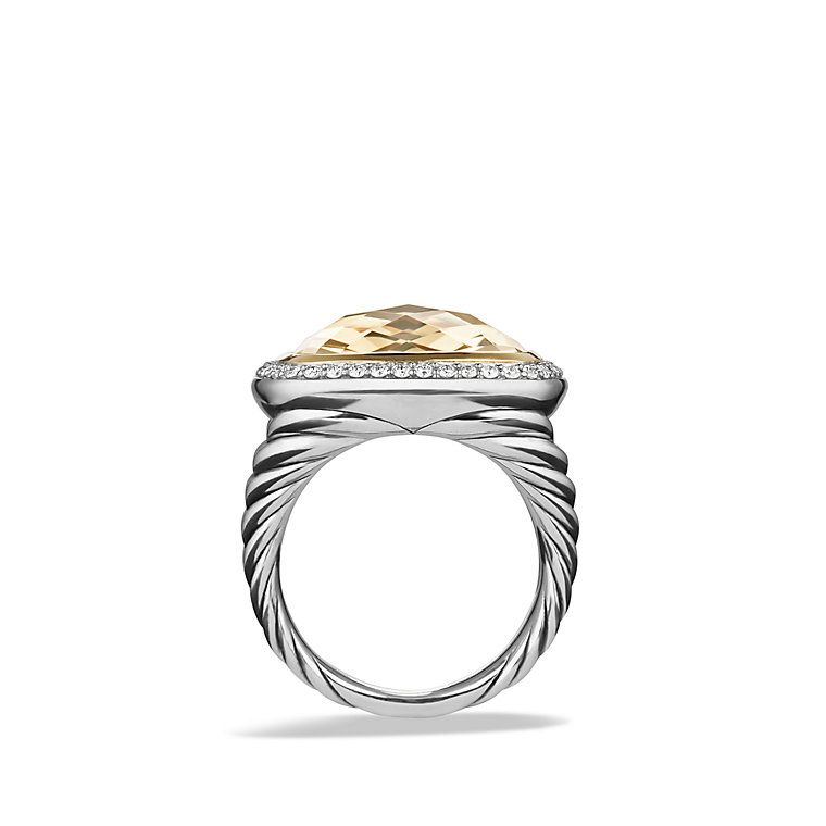 Albion Ring with Champagne Citrine and Diamonds with 18K Gold, 17mm