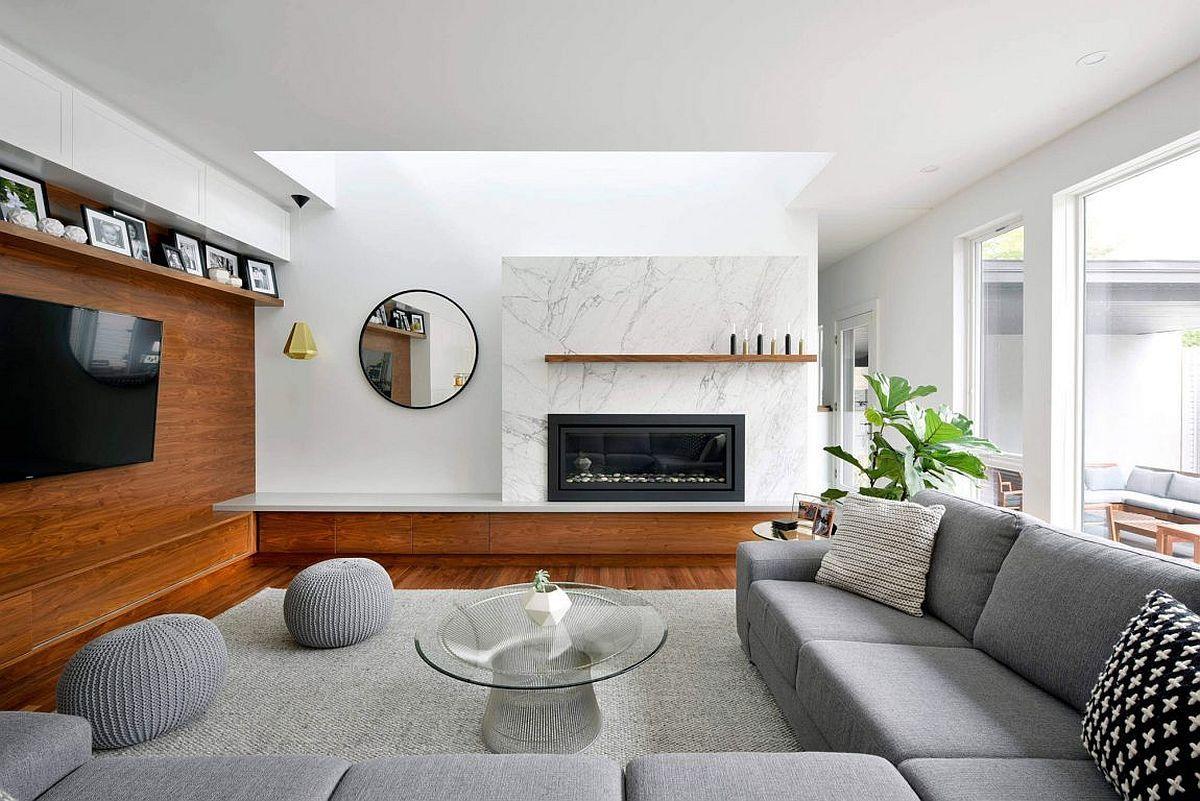 Warmth And Texture 10 Unique Living Room Wood Accent Walls Inspiration Wood Design Living Room Design Ideas