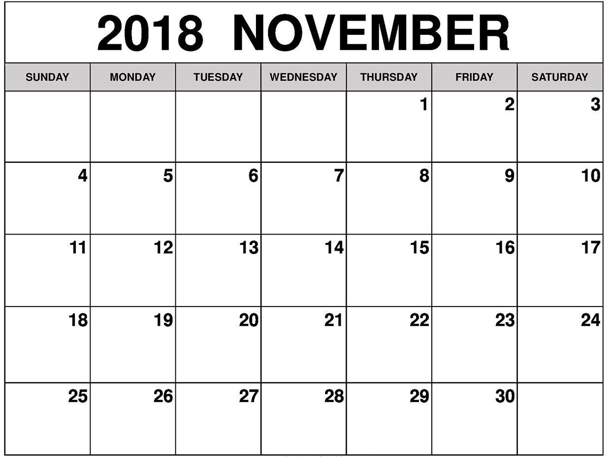 November 2018 Calendar Printable Word Pdf Blank Template August