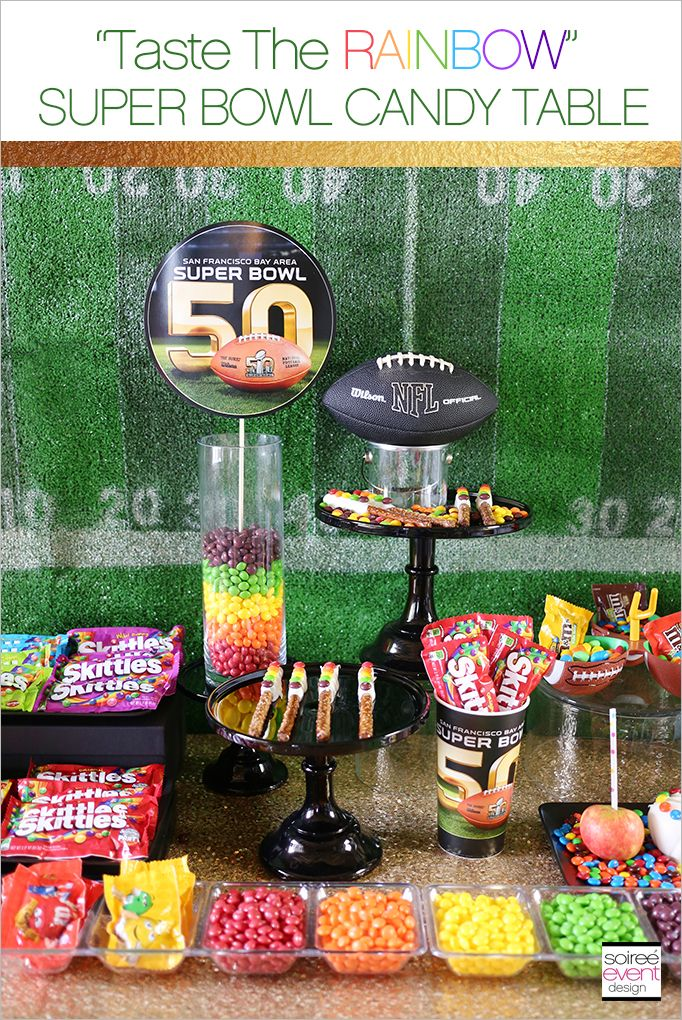 skittles taste the rainbow super bowl 50 party candy table rh pinterest com  glass candy buffet bowls