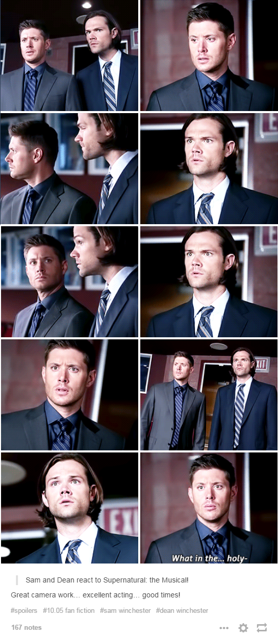 "Sam and Dean's reaction to ""Supernatural the Musical"" 10.05 Fan Fiction"
