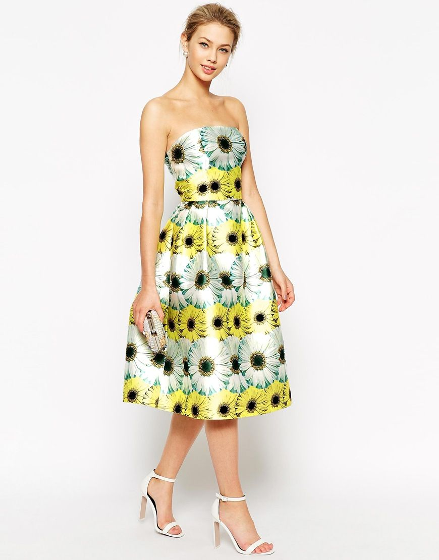 Chi chi london structured bandeau prom dress in overscale sunflower