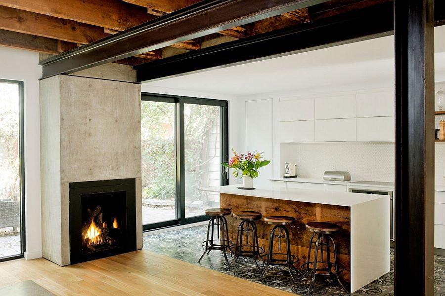 Smart kitchen area combines rustic elements with contemporary style