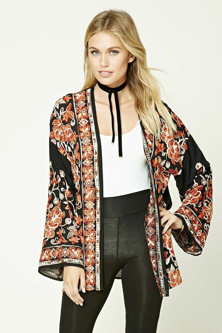 Contemporary Embroidered Kimono - Jumpers + Cardigans - Cardigans -  2000230621 - Forever 21 EU English
