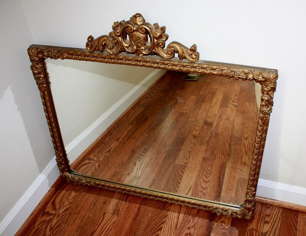 vintage gold ornate wall mirror carved wood frame on wall mirrors id=89302