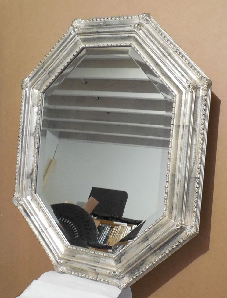 "Large Solid Wood ""27x34"" Octagon Beveled Framed Wall Mirror #Unbranded"