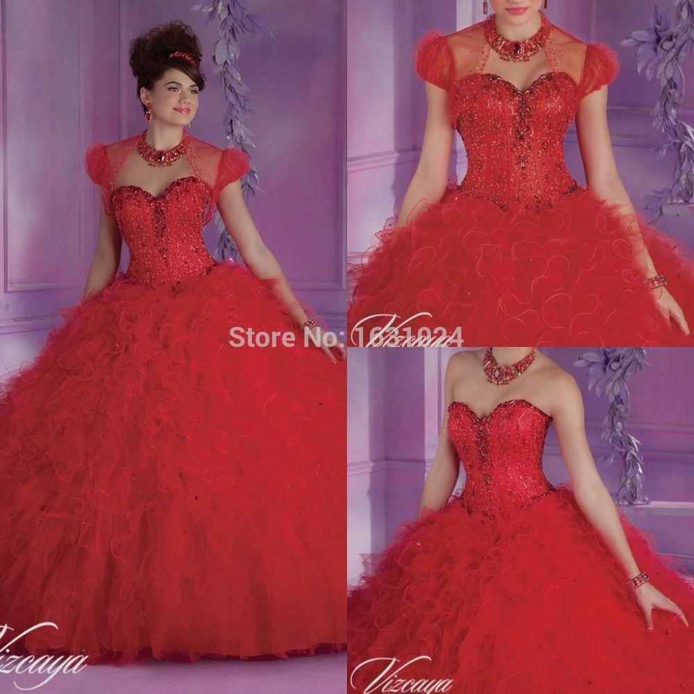 Charming Red Quinceanera Kleider Ballkleid mit freie jacke perlen ...