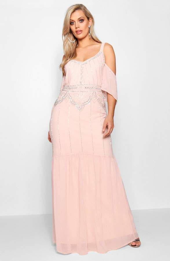 abe905bd3d02 boohoo Plus Beth Boutique Embellished Open Shoulder Maxi Dress ...