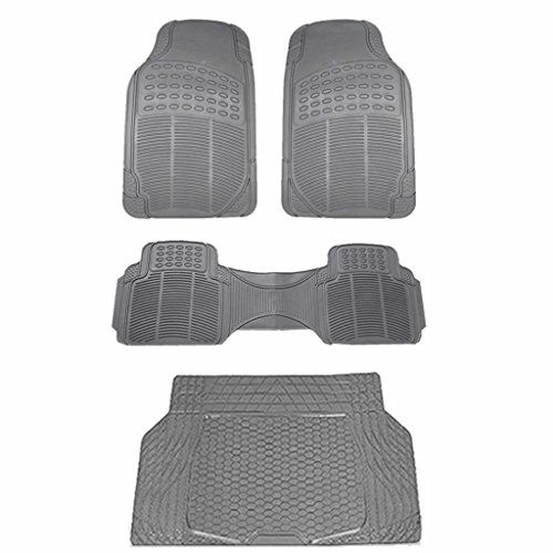 All Weather Solid Black Rubber Trimmable Front Rear 3 Piece And 1 Cargo Mat Universal Car Van Truck Floor Mats Set You Ca Black Rubber Cargo Mat Floor Mats