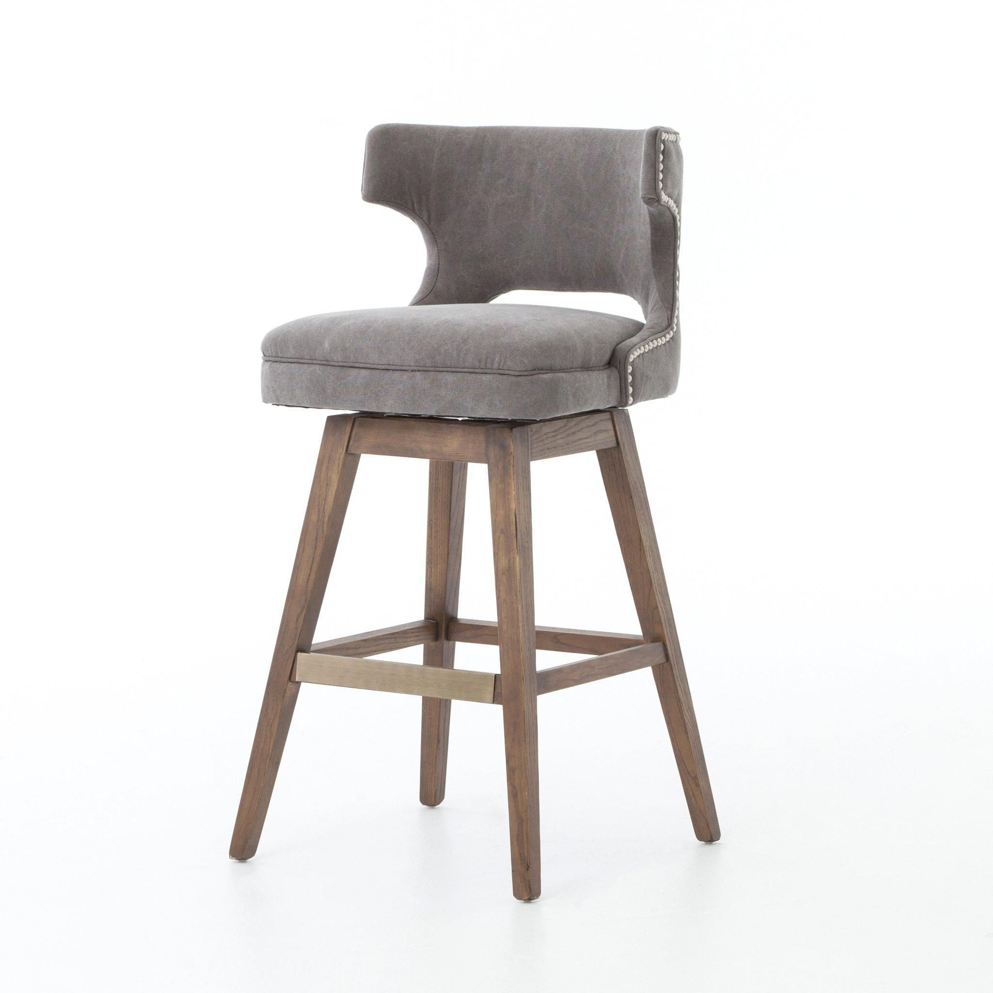 Task Bar Counter Stool With Swivel Base Dark Moon Canvas