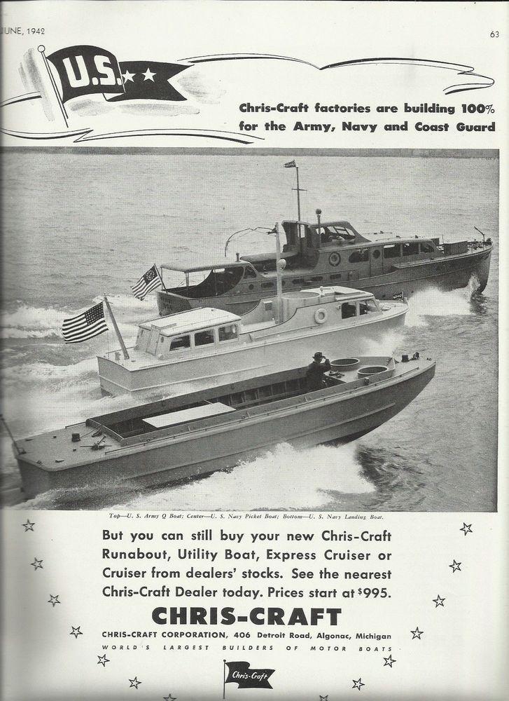 1942 ww ii chris- craft war boats ad- q boat- picket- landing boat