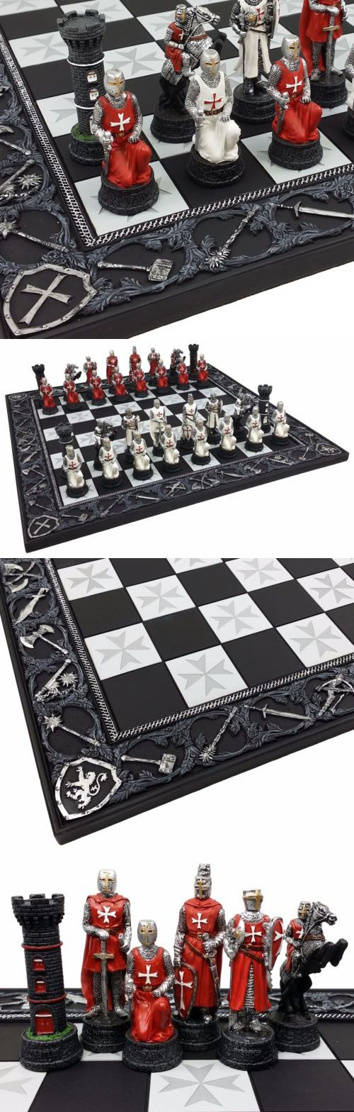 Medieval Times Crusades Maltese Armored Knight RED  WHITE Chess Men Set NO BOARD