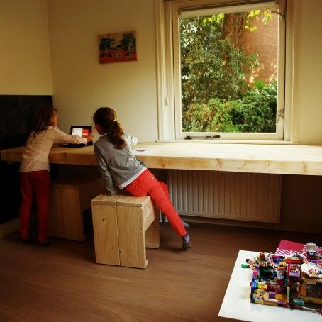 Zwevend bureau steigerhout r04 001 454 454 kinderen pinterest tienerkamer - Bureau kinderen ...