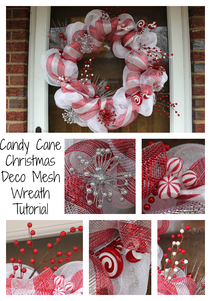 Candy Cane Christmas Deco Mesh Wreath Tutorial #decomeshwreaths