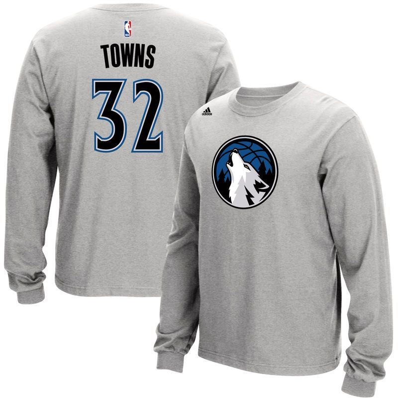 5211884d2de Karl-Anthony Towns Minnesota Timberwolves adidas Name and Number Long  Sleeve T-Shirt - Gray