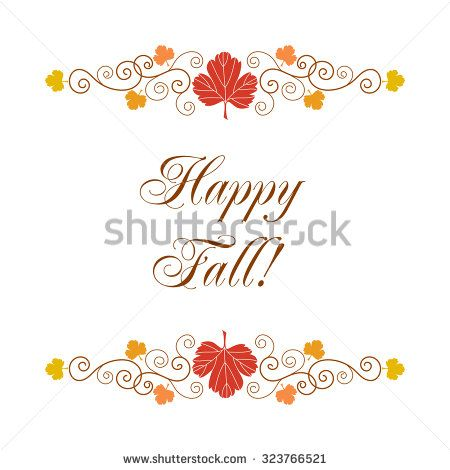 Happy Fall Greeting Card Template With Hand Drawn Autumn Leaves