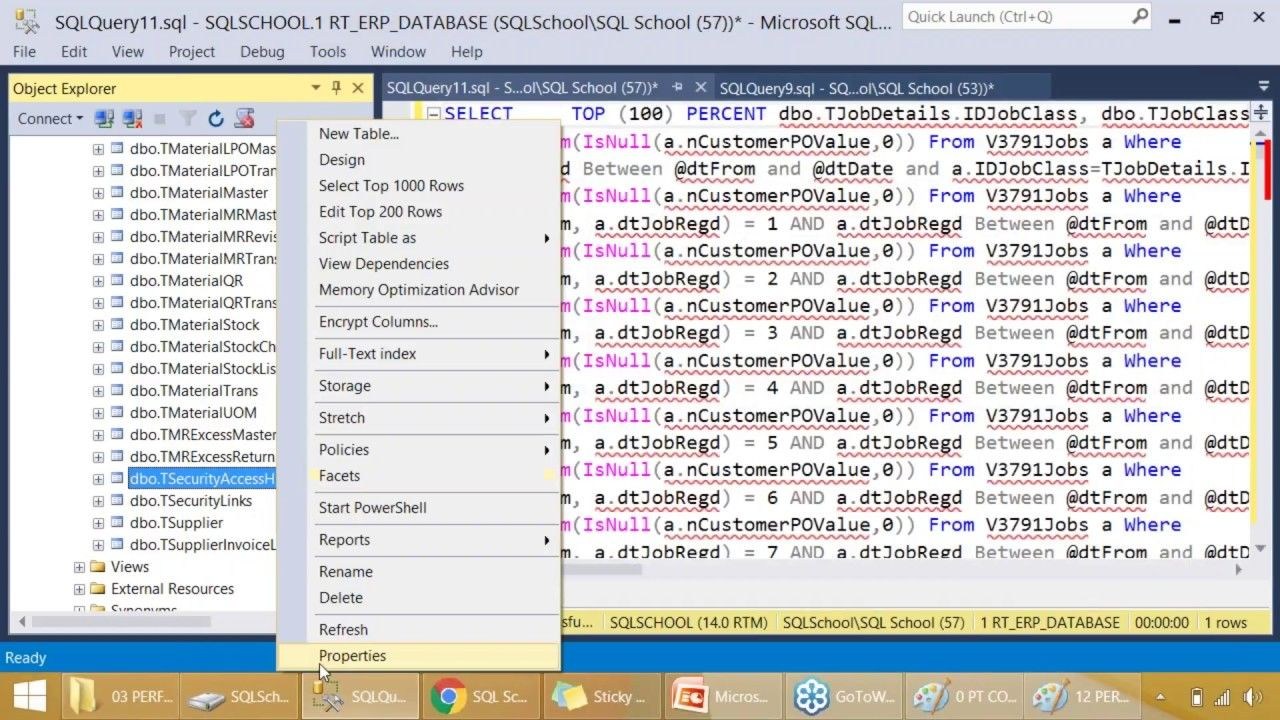 SQL Query Performance Tuning Video from SQL School Sql