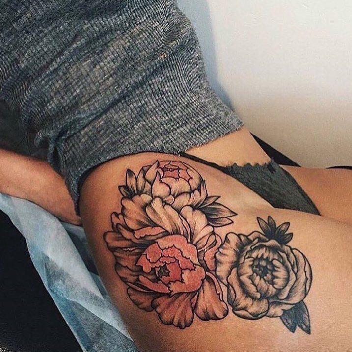 Flower thigh tattoo   Tattoos   Pinterest   Flower thigh ...