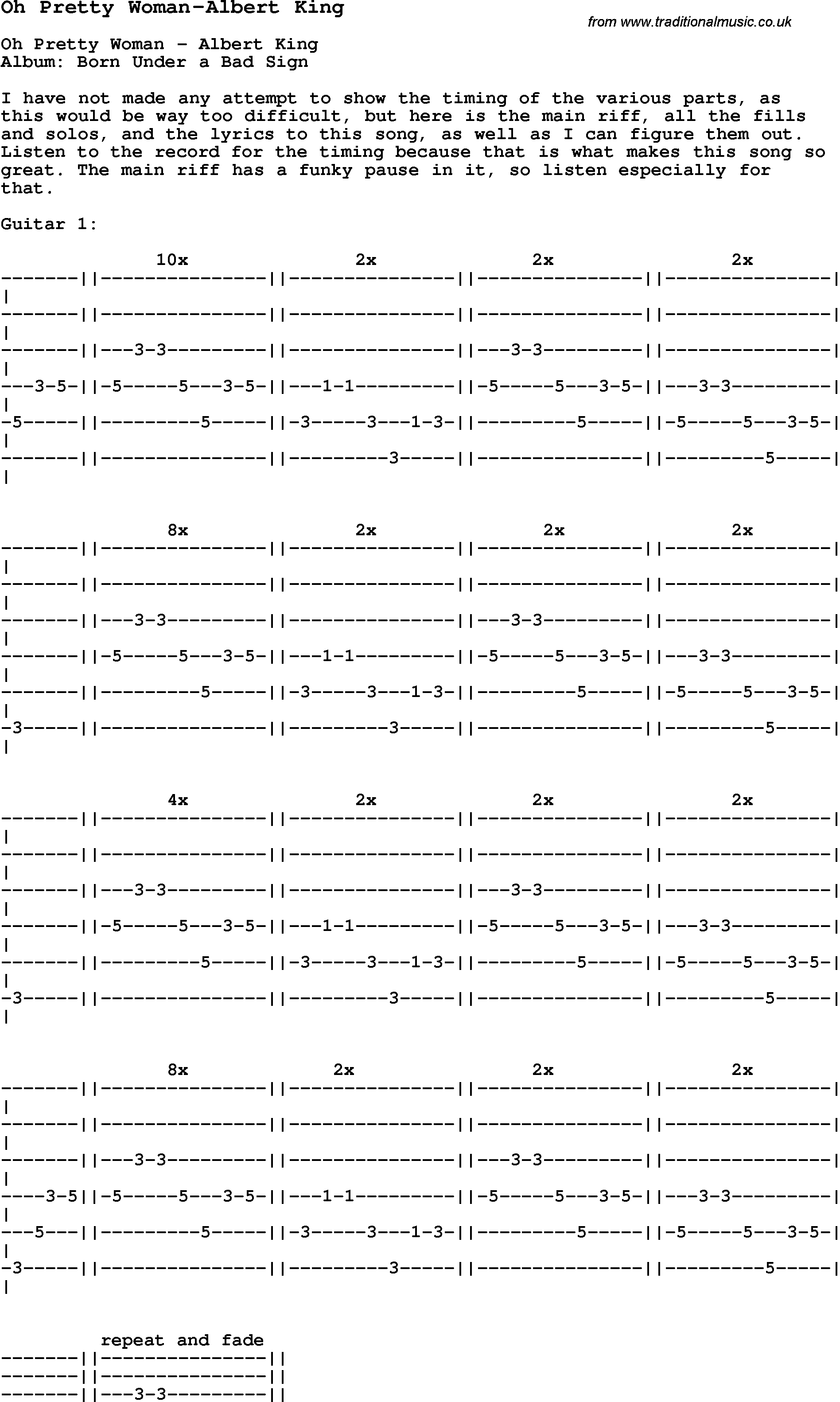 Blues Guitar Song Lyrics Chords Tablature Playing Hints For Oh