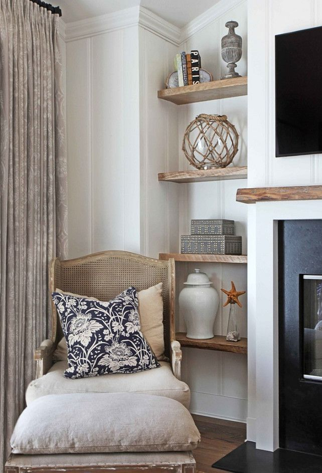 bookshelf decorating ideas love the natural wood shelves with matching mantel - Bookshelf Decor