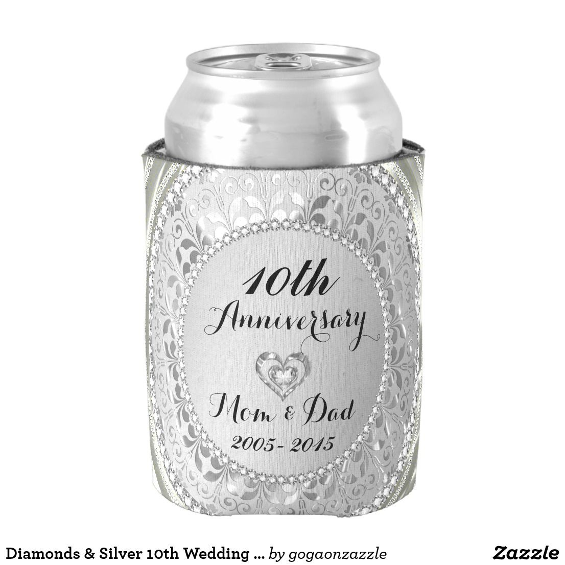 Diamonds & Silver 10th Wedding Anniversary Can Cooler