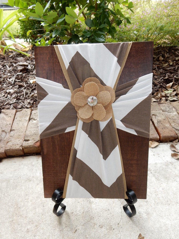 Faric Cross on Wood, Brown and White Chevron, Decorative Crosses ...