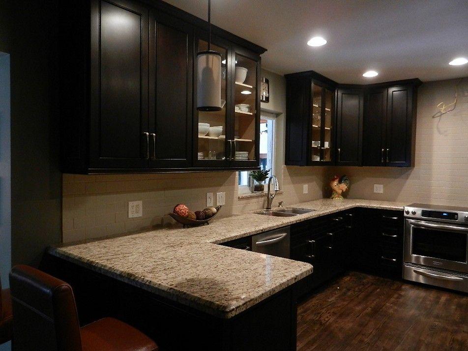 New Caledonia Granite With Dark Cabinets Ideas Espresso Kitchen