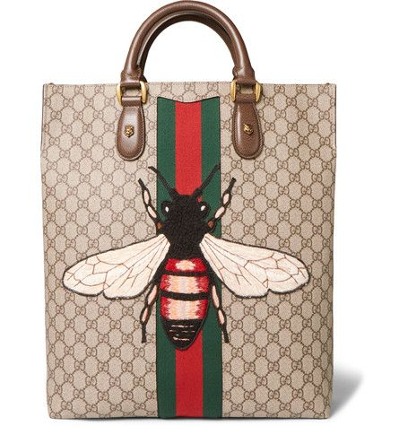09e26748a GUCCI Web Animalier Gg Supreme Leather-Trimmed Monogrammed Coated-Canvas Tote  Bag. #gucci #bags #shoulder bags #hand bags #canvas #suede #tote #