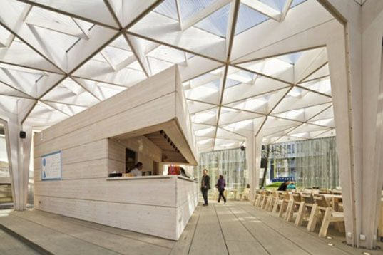 Temporary Wooden Pavilion Is A Day Lit Meeting And Event Space At