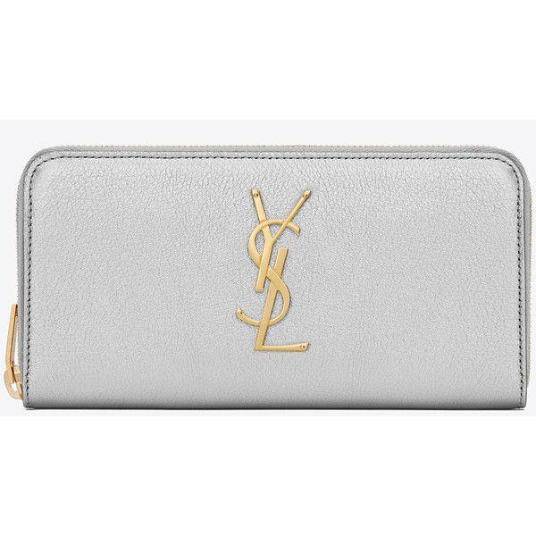 Monogram Saint Laurent Zip Around Wallet In Silver Metallic Grained... (£475) ❤ liked on Polyvore