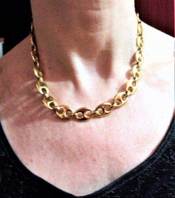 f0409641ac4a1 Collier Unisexe grosse maille grain de café plaqué or,collier femme ras du  cou,collier homme grosse maille,cadeau Saint Valentin