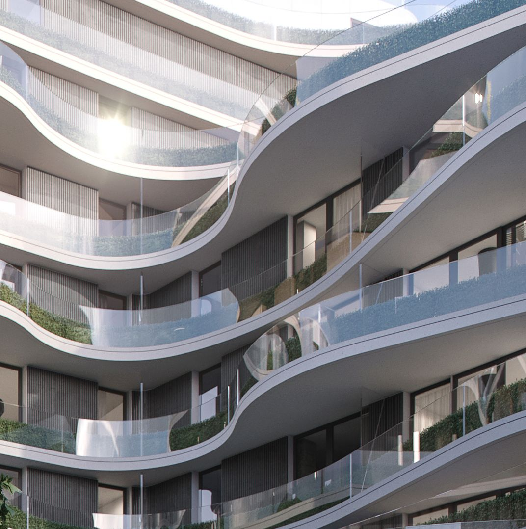 Delante Apartments: A Close Look At The Flowing Glass Balconies That Make Up