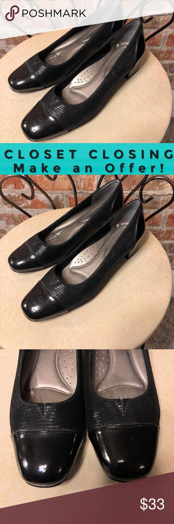 Trotters black patent kitten heels size 6.5 Black patent