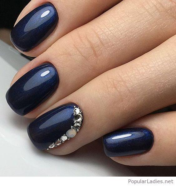 Navy gel nails with glitter   Glitter Nails   Pinterest   Navy ...