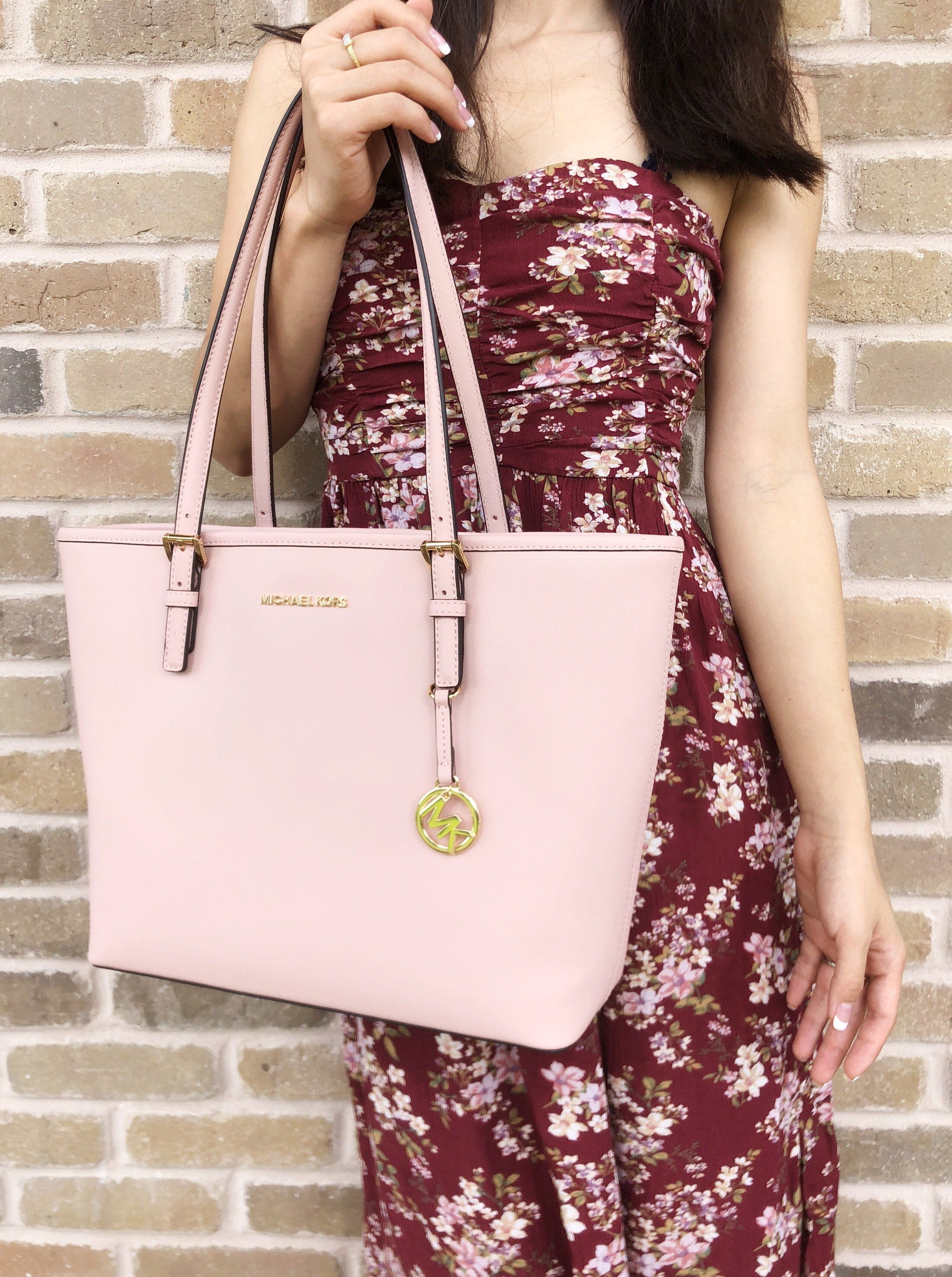 b642a3a4ae38 Michael Kors Jet Set Travel Medium Carryall Tote Saffiano Leather Pastel  Pink  MichaelKors  MK  Handbags