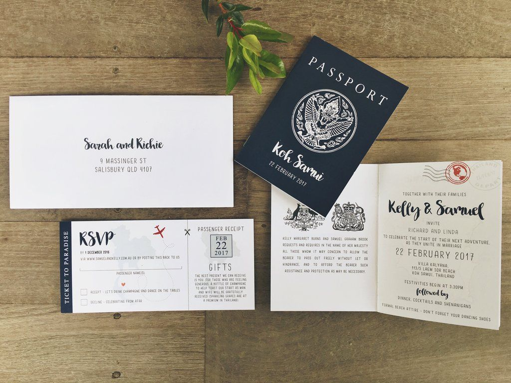 Passport Style Invitation Destination Travel Wedding Thailand Kou