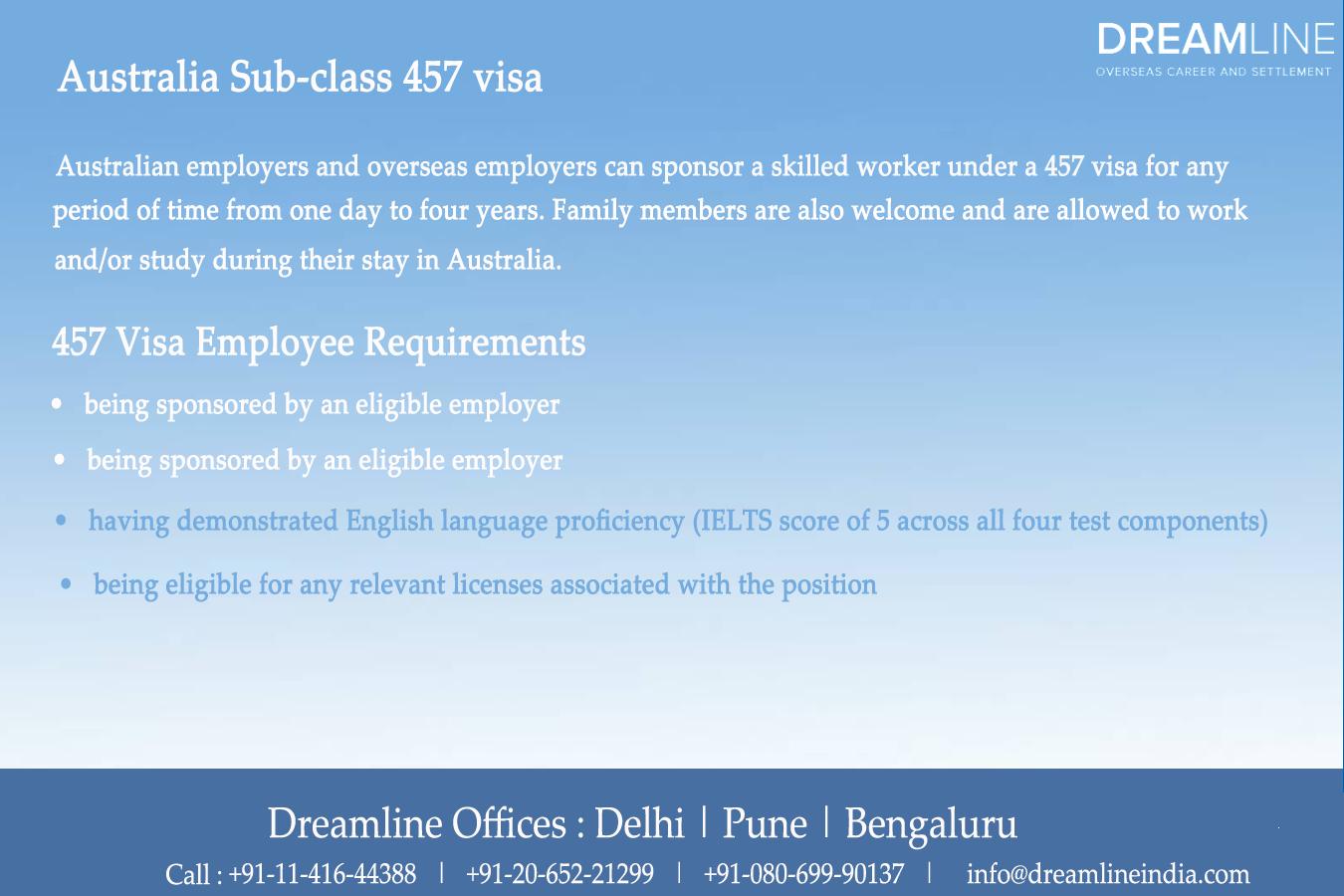 Australia Sub class 457 visa dreamlineindia