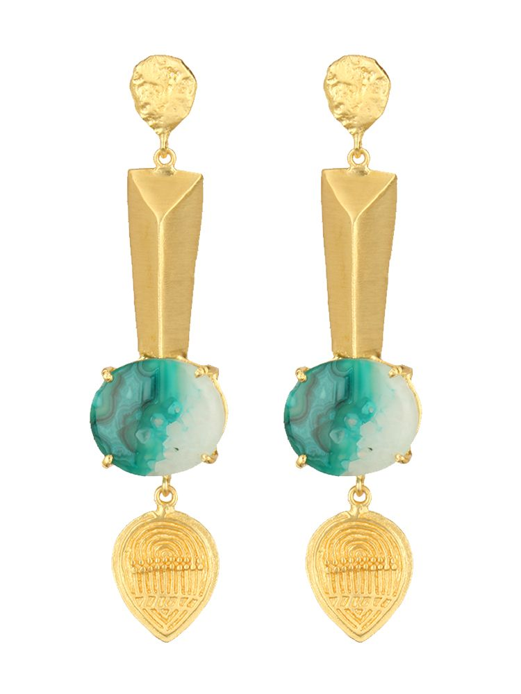 Turquoise & Golden Hanging Earrings #Ekatrra #Gold #Earring ...