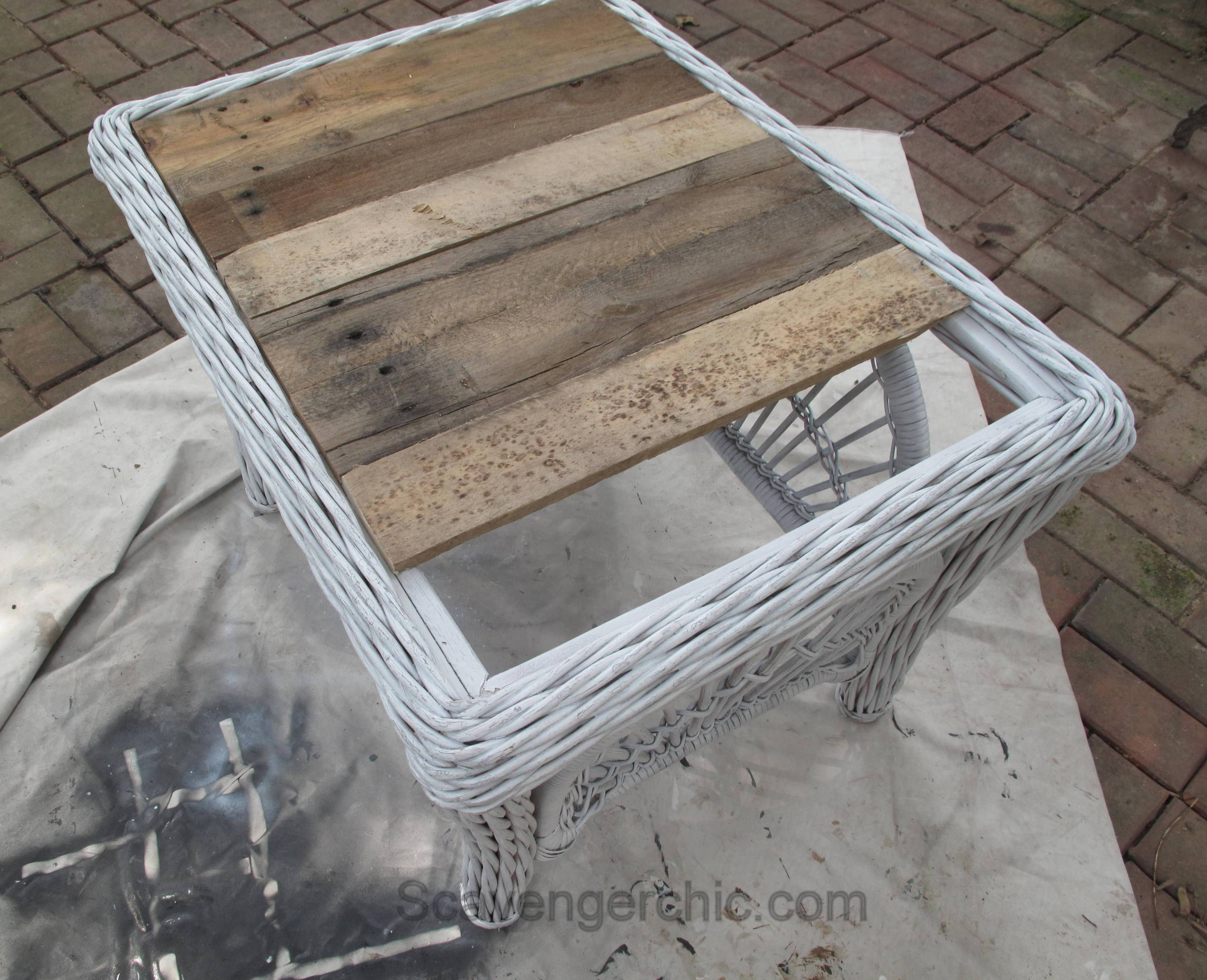 Wicker And Pallet Wood Replacing A Glass Top On A Wicker Table Pallet Furniture Outdoor Painted Outdoor Furniture Wicker Table