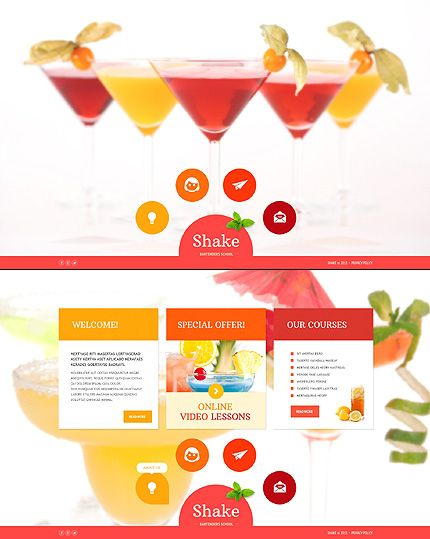 Template 46558 - Bartenders School Website Template with Bootstrap ...