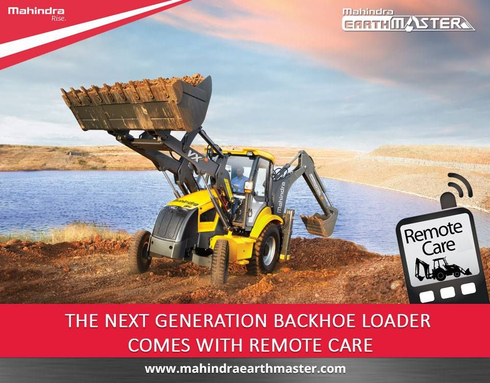 The Mahindra Earthmaster Comes With Remotecare Feature The First One Of Its Kind In Backhoe Loaders Smart System Backhoe Loader Backhoe