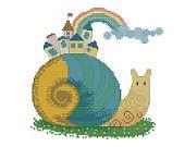 Cross stitch pattern Rainbow Snail digital item