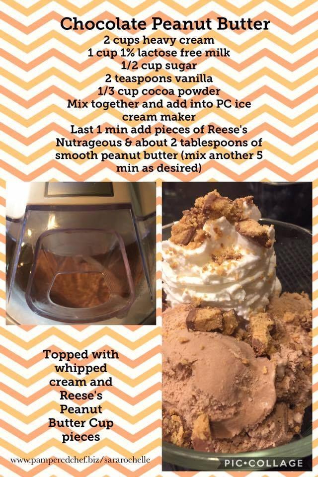Chocolate Peanut Butter Ice Cream Pampered Chef Ice Cream Maker Recipe Ice Cream Maker Recipes Peanut Butter Ice Cream Recipe