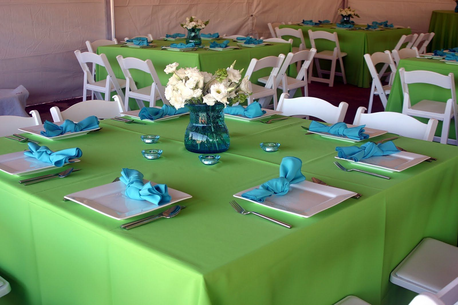 Lime Green And Turquoise Wedding Wedding Reception Decorations